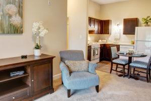 senior living apartment troy living room