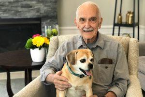 senior man and dog